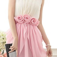 Vintage White and Pink Sleeveless Beaded Pleated Dress