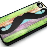BLACK Snap On Hard Case IPHONE 4 4S Plastic Skin Cover - Pastel Mustache vintage rainbow colorful moustache stachetastic awesome