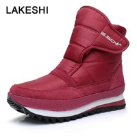 LAKESHI New Arrive Women Boots Non-slip Ankle Boots Women Warm Snow Boots Waterproof Shoes Flat Platform Shoes Plus Size 44 45