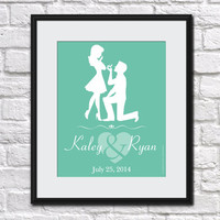 ENGAGEMENT GIFT Personalized Art Print Wedding Gift Proposal Silhouette New Couple Engaged Custom Gift Bridal Shower Bachelorette Party Mint