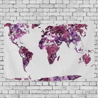Watercolor World Map Purple Tapestry Wall Hanging Red Global Map Wall Decor Art for Living Room Bedroom Dorm