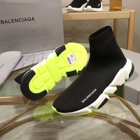 Balenciaga Speed Trainers Black With Tricolor Sole Sneakers - Best Online Sale