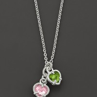 Judith Ripka Sterling Silver Twin Heart Necklace with Pink and Peridot Crystal