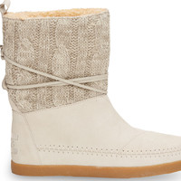Light Grey Cable Knit Suede Women's Nepal Boots US