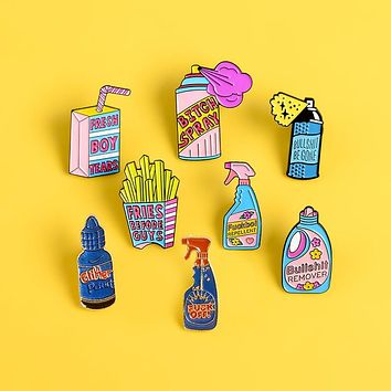 Repellent Button fries Enamel Pins Brooches Detergent Boxed drink pink Pin Big bottle spray for women Badge Jackets Jewelry gift