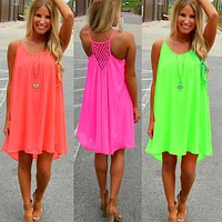 Fluorescent Summer Chiffon Dress