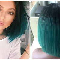 Custom Kylie Jenner Celebrity Inspired Ombre Black Roots to Dark Green Teal Turquoise Straight High Quality Heat Resistant Bob Lace Wig