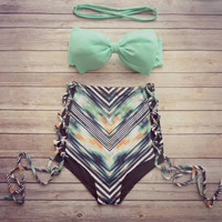 Retro Hollow Out High Waist swimwear Set Swimsuit