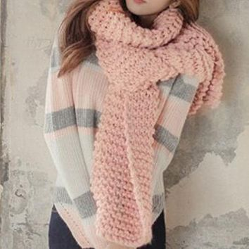 Women Knitted Scarf Solid Color Knitted Shawl Female Large Rectangular Scarves