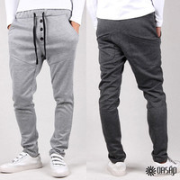 Trio-Button Deco Drop Crotch Jogging Harem Pants