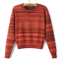 Turtleneck Striped Bell Sleeve Mosaic Sweater