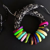 African clothing/original necklace/unique necklace/colorful statement necklace/multicolored necklace/chunky statement necklace/African