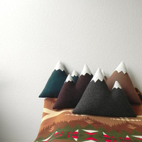 the Peaks -- wool mountain pillow - warm browns