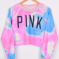 Glamorous Flying Color Crop Pink Letter Swimshirt