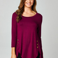 Button Casual Tunic Top - Plum