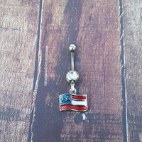 Patriotic American Flag Charm Navel Belly Button Ring