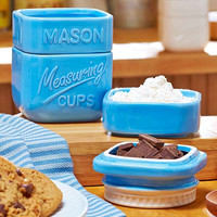 Mason Jar Measuring Cup Set Blue White Ceramic Stacking Nesting Country Kitchen Home Decor
