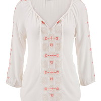 Embroidered Peasant Top With Ties - Beige