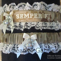 US Marine set with Semper Fi embroidered on it and with EGA charms on both garters