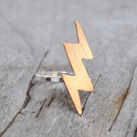 Bolt of Lightning Ring in Bronze and Silver