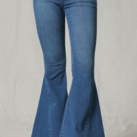 Memory Lane Blue Denim High Stretch Elastic Pull On Waist Bell Bottom Flare Leg Jean Pants - Sold Out