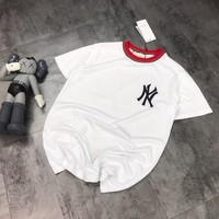 """New York Yankees"" Women Casual Stripe Personality Fashion All-match Pattern Letter Print Short Sleeve T-shirt Top Tee"