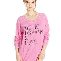 Chaser Women's Music Dreams and Love Reverse-Shoulder Sweatshirt