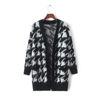 Houndstooth Pattner Sleeve Knitted Cardigan