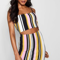 Lottie Square Neck Stripe Skirt Co-ord Set | Boohoo