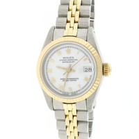 Rolex Datejust Ladies 2-Tone 18K Yellow Gold/Stainless Steel Factory White Roman Dial 26MM Jubilee Watch 69173 (Certified Pre-owned)