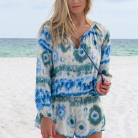 Wishbone Taupe and Blue Tie Dye Romper