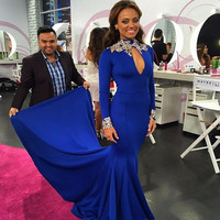 Royal Blue Prom Dresses 2016 High Neck Appliqued Formal Long Sleeve African Evening Party Gowns vestidos de gala WH159
