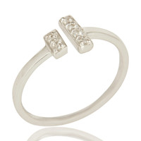 Natural White Topaz Adjustable Ring Made In Solid Sterling Silver