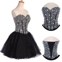 CHEAP Organza Beaded Short Mini Homecoming Prom Party Cocktail PLUS Size Dress