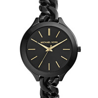 Michael Kors MId-Size Black Stainless Steel Slim Runway Three-Hand Watch