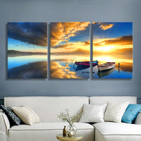 Oil Painting Canvas Ships Sea Landscape Wall Art Decoration Home Decor On Canvas Modern Wall Picture For Living Room(3PCS)