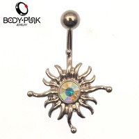 BODY PUNK Silver/ Burning Gold Sun CZ Navel Belly Button Rings Sexy Body Piercing Woman Jewelry 316L Stainless Steel Accessories