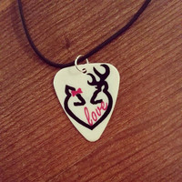 Black and Pink her buck his doe with bow Deer LOVE Heart guitar pick on black necklace for southern hunting country girl jewelry