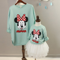 2016 autumn matching mother daughter clothes minnie children hoodies women sweatshirt family clothing plus size