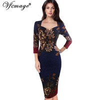 Vfemage Womens Autumn Elegant Vintage Retro Flower Print Casual Party Pencil Sheath Vestidos Dress 4237