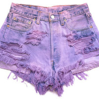 Super Distressed Purple High-Waisted Shorts