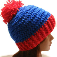 Crochet Red and Blue Poof Ball Winter Hat