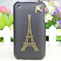 Bronze Eiffel Tower Cute Birdie And Black Hard Case Cover for Apple iPhone 3 Case, iPhone 3gs Case, iPhone 3g Hard Case