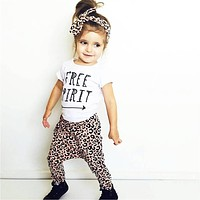 Summer 2017 New Baby Girl Leopard Clothes Fashion T-shirt+Pants+Headband Kids Toddler 3 Pcs Suit Newborn Baby Girls Clothes