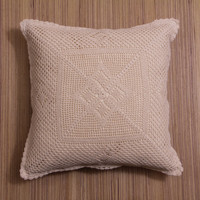 HANDMADE CROCHET Cushion Cover, Pillow case, Decorative Throw Pillow, Home Decor - White and Natural Color, Web Design