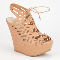 Bamboo Pamela Womens Wedges Tan  In Sizes