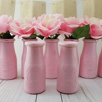 Pink  Milk Bottle Vase Set - Baby Shower Centerpiece - Baby Girl Sprinkle - First Birthday - Flower Vase - Table Decor - Girl Baby Shower
