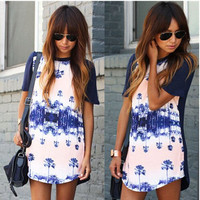 White and Blue Tree Print Dress