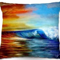 Decorative Outdoor Patio Couch Throw Pillows from DiaNoche Designs BBQ Garden Outdoor Ideas by Corina Bakke Home Unique Maui Wave II