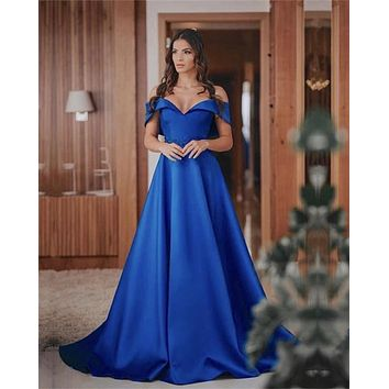 Royal Blue Classic Prom Dress Off the Shoulder Satin Beaded Formal Dress